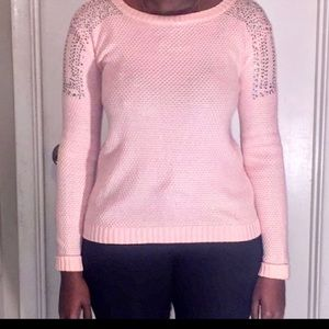 Dolled Up Women's Rhinestone Accent Pink Sweater L
